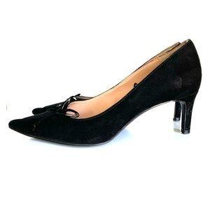 Zara Womens Heels Pumps Black Faux Suede Bow Point